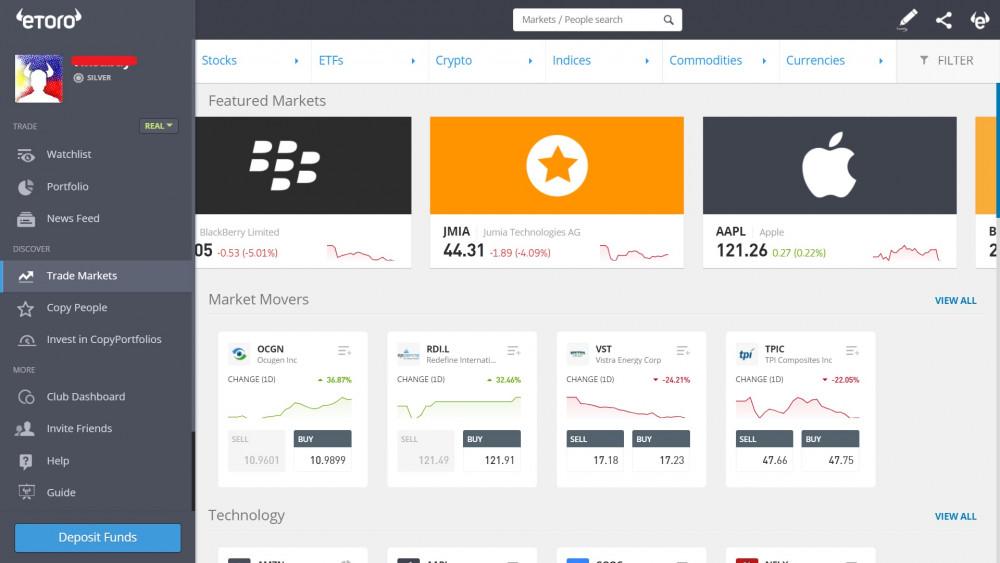Bildschirm Märkte eToro