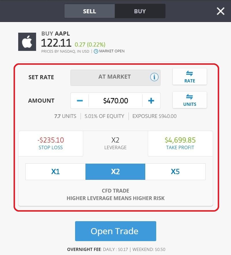 Festlegen der Handelsparameter für Apple CFD-Aktien (AAPL) auf eToro