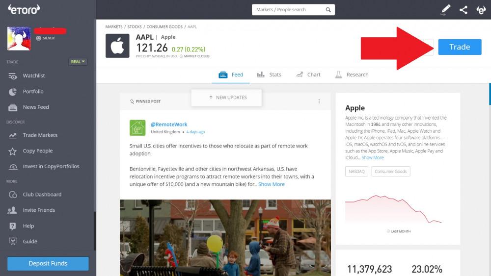 """Schaltfläche """"Tauschen"""" für Apple-Aktien (AAPL) auf der eToro-Seite.jpg"""