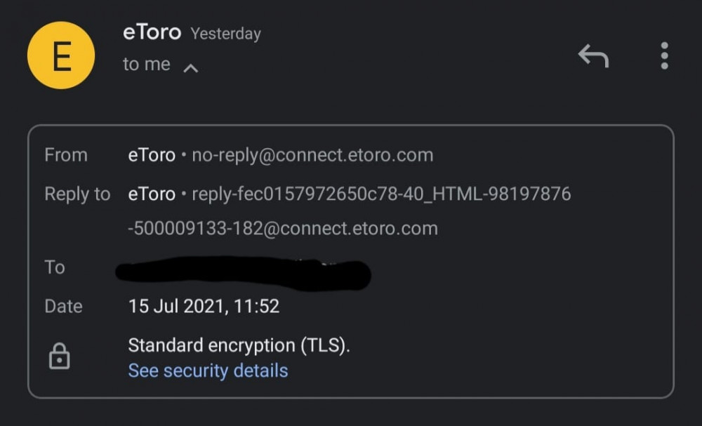eToro selfie verification email